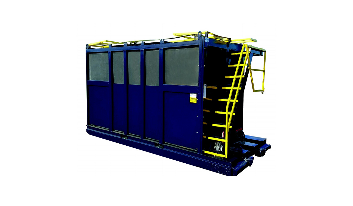 Poly tank with 6,300 gallon capacity.