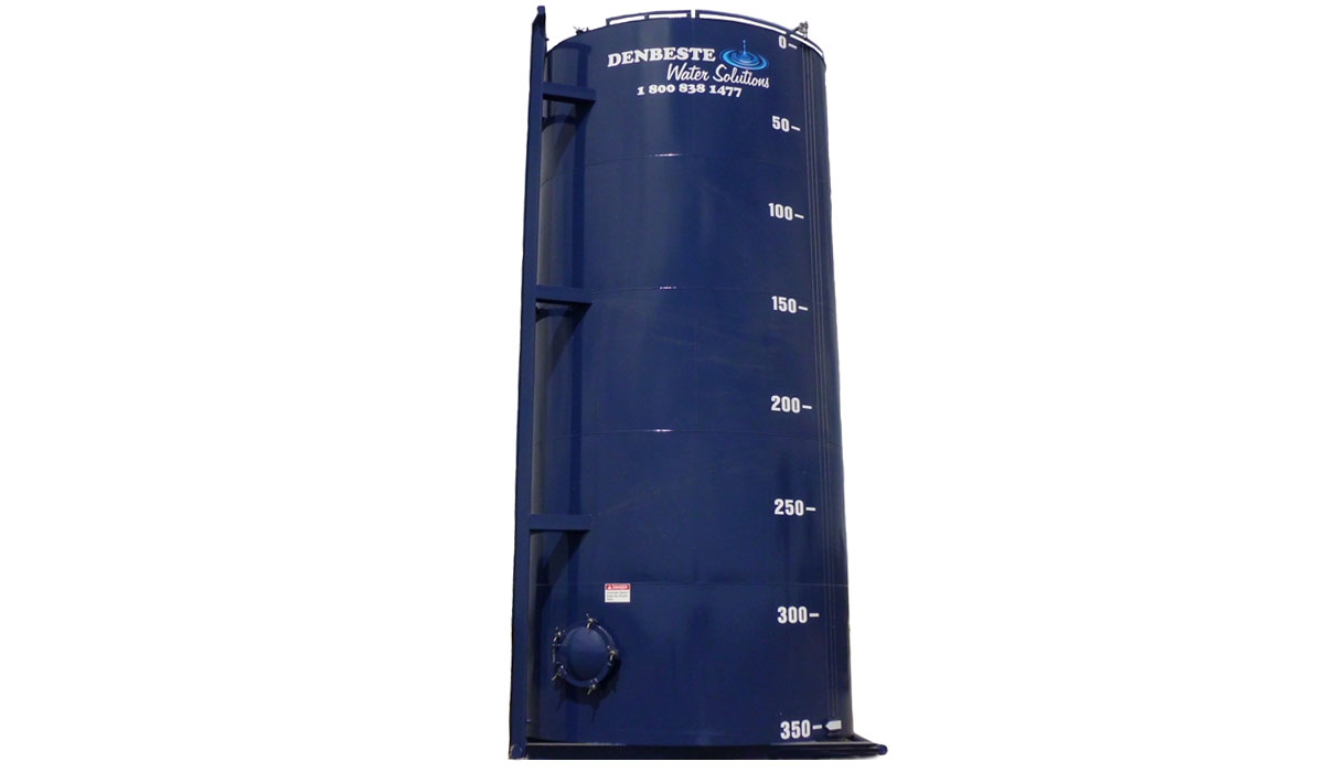 Upright liquid storage tank is easy transport.